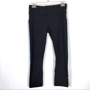LULULEMON Black Leggings Cropped Pockets Mesh